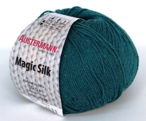 kol. 007 Petrol Magic Silk 100% jedwab Austermann
